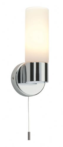 Chrome effect plate & matt opal duplex glass Wall IP44 Bathroom Light 34483 by Endon
